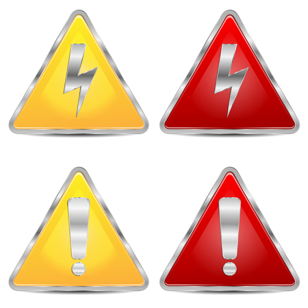 set of signs of danger on a white background Illustration