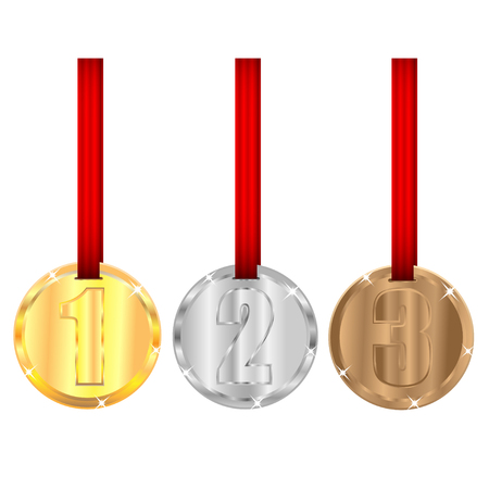 set of medals with red ribbons isolated on white background