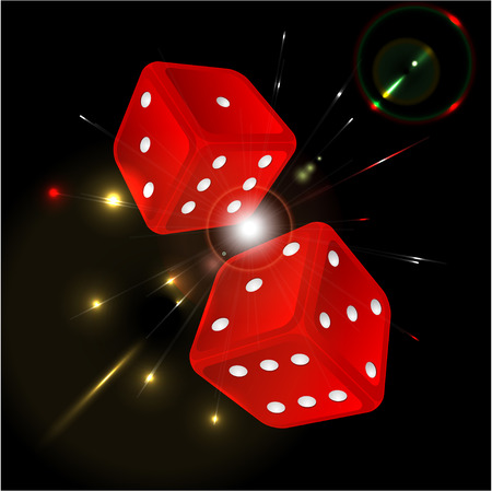 command: playing dice of red color on a black background Illustration