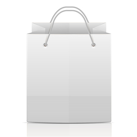 white paper bag isolated on white background.paper bag for shopping.vector  イラスト・ベクター素材