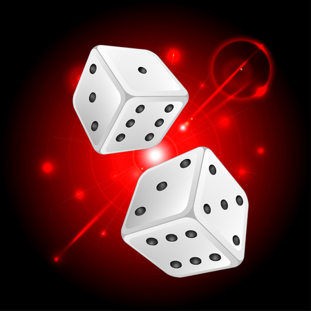 ardour: dice on a white neon red background.casino background.vector Illustration