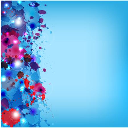 青色の背景に多彩塗料