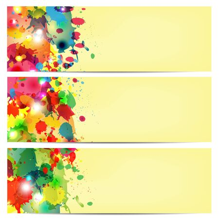 annotation: multicolored paint spots on a yellow background