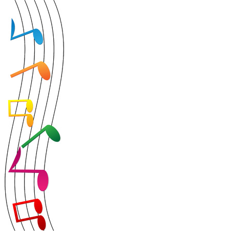 operetta: colorful notes on white background.musical background.vector
