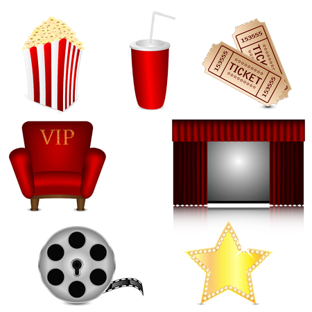 set of subjects for cinema isolated on white background.cinema icons.vector