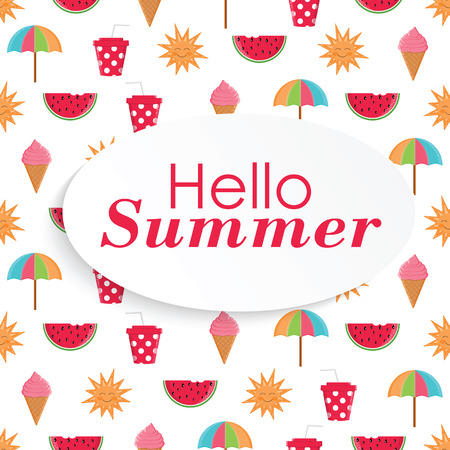 Summer time vector  background with colorful beach elements in white background.Summer beach. Summer print Illustration
