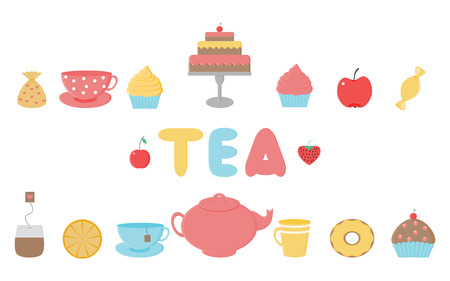 Tea,sweets set.Tea Time.Crockery and sweets food.Collection of tea, teapots, cups, donuts, cakes, cupcakes and fruits
