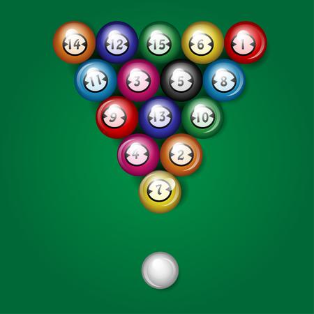 balls for billiards on a green background. Illustration