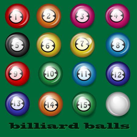 ardour: Billiard balls on a green background Illustration