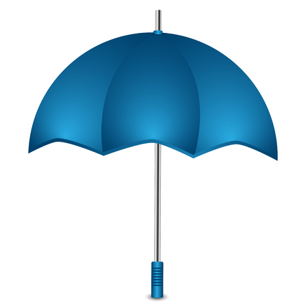 Umbrella of blue color on a white background.
