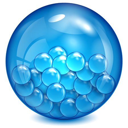 Glass ball of blue color with little balls inwardly. Stock Illustratie