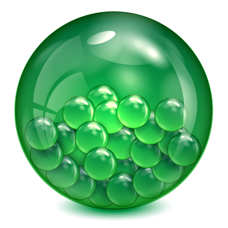 physicists: Glass ball of  green color with little balls inwardly. Illustration