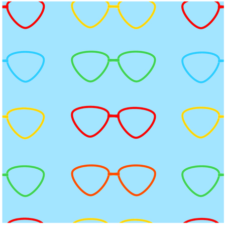 Varicoloured glasses on a blue background.