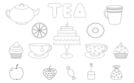 Tea,sweets set.Tea Time.Crockery and sweets food.Collection of tea, teapots, cups, donuts, cakes, cupcakes and fruits.Coloring book Illustration