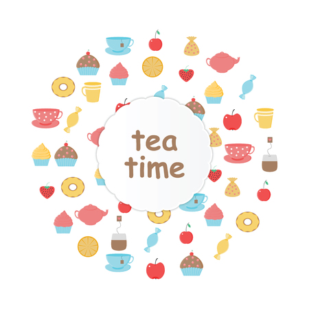 Tea,sweets set.Tea Time.Crockery and sweets food.Collection of tea, teapots, cups, donuts, cakes, cupcakes and fruits Stock Vector - 77624505