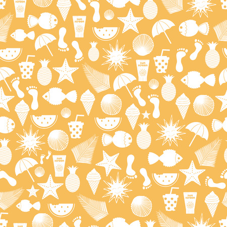 Summer time vector seamless pattern with beach elements.Summer beach. Summer print
