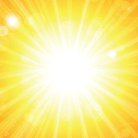 여름 태양 및 bokeh.Summer 배경으로 맑은 추상 여름 배경. 햇살과 밝은 배경. Flare와 Lens를 가진 SunBurst.