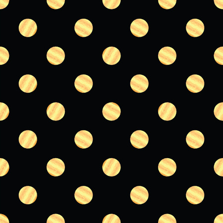 A Seamless pattern with gold dots.Polka dots, confetti.Shiny backdrop.Wrapping paper. Scrapbook paper. Tiling. Vector illustration. Graphic texture for design, wallpaper. Illustration