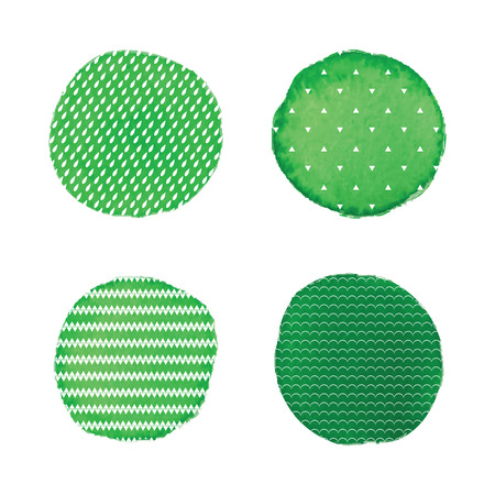 A Vector watercolor stains.Green watercolor paint circles vector backgrounds set.Watercolor elements with patterns from drops, triangles, waves and chevron