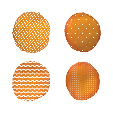 A Vector watercolor stains.Orange watercolor paint circles vector backgrounds set.Watercolor elements with patterns from drops, triangles, waves and chevron