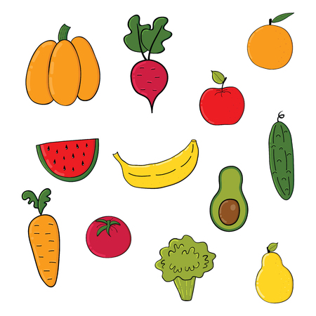 Set of fruits and vegetables.Cartoon vegetable isolated on white background .Vector illustration