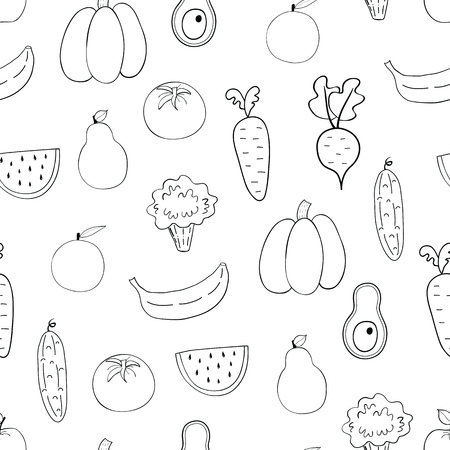 Vegetables, fruits seamless pattern.Coloring book