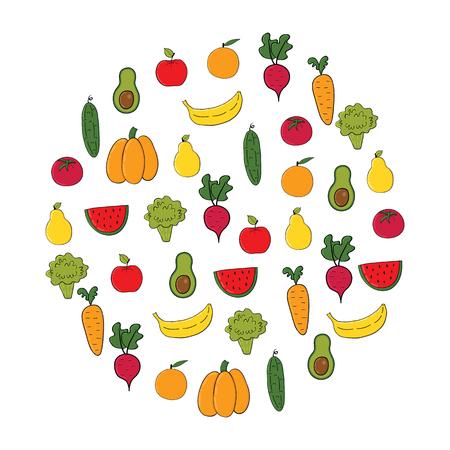 Conjunto de frutas y hortalizas.Cartoon vegetales aislados sobre fondo blanco. Ilustración vectorial Vectores
