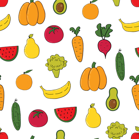 Vegetables, fruits seamless pattern.Background with colorful fruits and vegetables isolated on white background Illusztráció