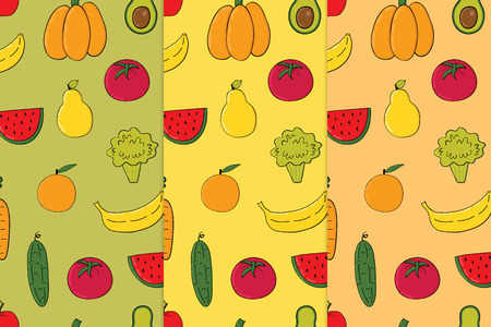 Set of vegetables, fruits seamless patterns.Backgrounds with colorful fruits and vegetables
