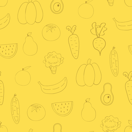 Vegetables, fruits seamless pattern.Background with  fruits and vegetables