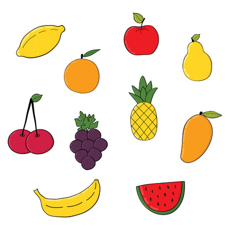 Set of fruits and berries .Colorful fruits isolated on white background .Vector illustration.Icons with fruits