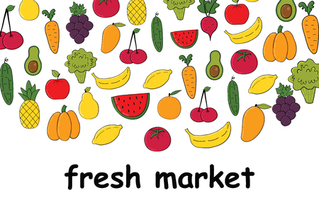 Set of fruits and vegetables.Banner with colorful fruits and vegetables isolated on white background .Vector illustration