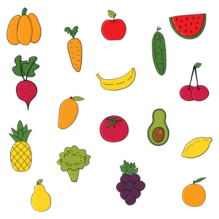 Set of fruits and vegetables.Cartoon vegetable isolated on white background .Vector illustration.Hand drawn