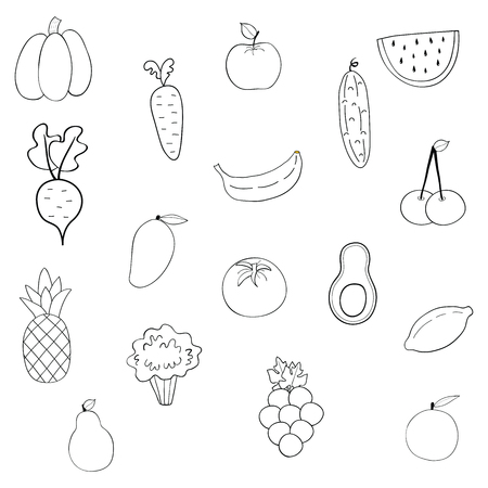 Set of fruits and vegetables.Cartoon vegetable isolated on white background .Vector illustration.Hand drawn.Coloring book