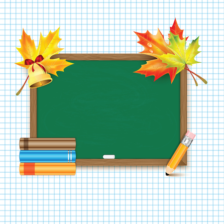 classbook: School board with maple leaves,books,bell and pencil.Back to School banner