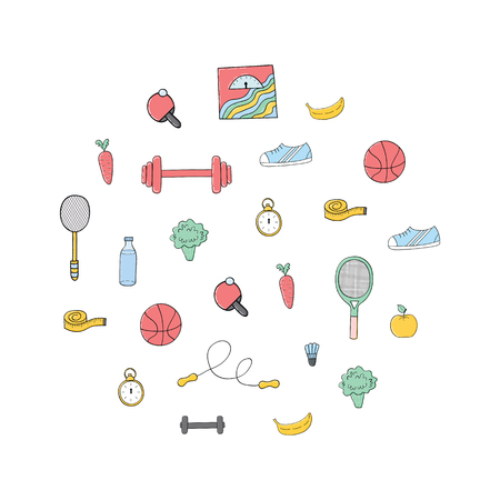 Circular concept of sports equipment background.Fitness and sport elements,fruits and vegetables.Colorful fitness illustration.Handdrawn