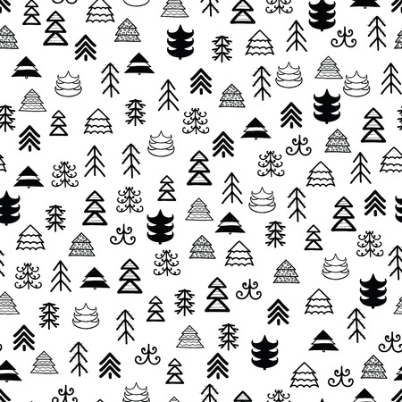 Muster mit Weihnachtsbäumen für Ihr Design Hand gezeichnetes nahtloses Muster der frohen Weihnachten und des guten Rutsch ins Neue Jahr Standard-Bild - 88082625