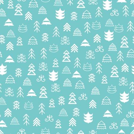 Muster mit Weihnachtsbäumen für Ihr Design Hand gezeichnetes nahtloses Muster der frohen Weihnachten und des guten Rutsch ins Neue Jahr Standard-Bild - 89332667