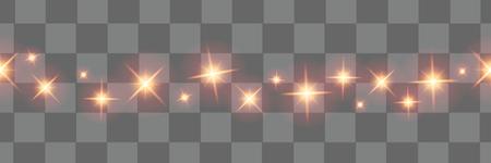 Éléments de design isolés de Noël lumières. Lumières rougeoyantes pour la conception de carte de voeux de vacances de Noël. Décorations de Noël. Étoiles de Noël. Objets horizontaux sans couture vecteur.