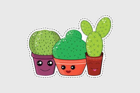 Cartoon cactuses icons, patches, stickers. Isolated illustrations - great for stickers, embroidery, badges.Hilarious family of cacti. Cute kawaii smiling cactuses. Baby and kids style  Illustration