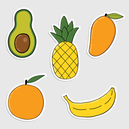 Set of stickers with colorful hand drawn fruits and vegetables. Colorful icons, patches, stickers of healthy foods great for stickers, embroidery and badges.