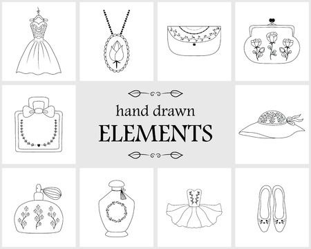 Hand drawn logo elements and icons. Hand drawn decorative vector elements with flower design . Cute items for your branding. This collection can be used for creating logos, business cards, postcards, wedding invitations