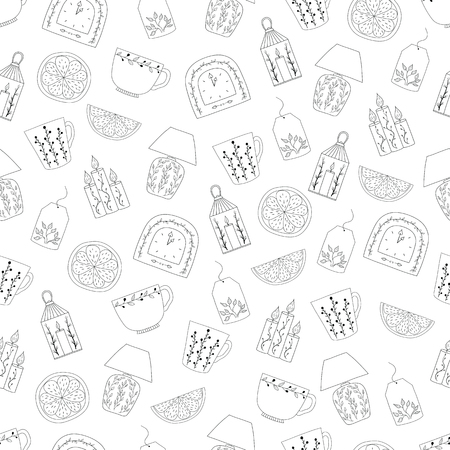 Vector seamless pattern  with hand drawn illustrations cozy home things: candles, clock, lamp, tea and lemon. Hygge. Hand drawn illustration 向量圖像