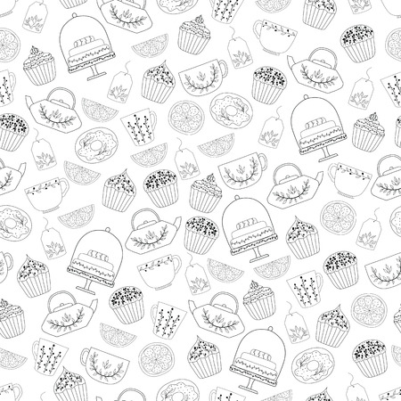 Bakery seamless pattern, food vector background of black and white color.Hand drawn cute sweets, cakes, cookies, teacup , teapot .This pattern can be used for  business cards, postcards,  invitations , wrapping paper