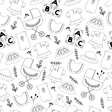 Seamless cute pattern of baby stuff. Hand drawn  seamless pattern of black and white color.This pattern can be used for cards, invitation for babies shower, postcards,  wrapping paper