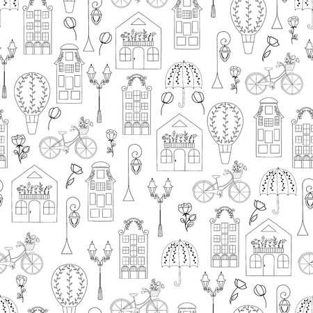 Vector seamless pattern with hand drawn symbols of Netherlands. Travel and tourism. European houses,umbrellas, tulips and bikes.  This pattern can be used for  business cards, postcards, invitations , wrapping paper