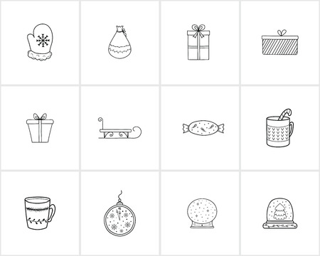 Hand drawn Christmas and New Year decorations and elements.Template for Greeting Scrapbooking, Congratulations, Invitations.