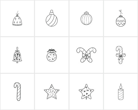 Hand drawn Christmas and New Year decorations .Template for Greeting Scrapbooking, Congratulations, Invitations. 向量圖像