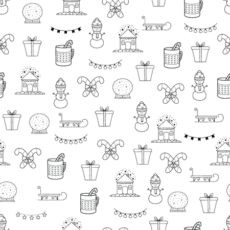 Pattern with Christmas elements for your design. Hand drawn Merry Christmas and Happy New Year doodle seamless pattern. Outline festive winter seamless pattern. Coloring page. Standard-Bild - 115912999