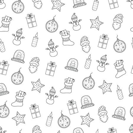 Pattern with Christmas elements for your design. Hand drawn Merry Christmas and Happy New Year doodle seamless pattern. Outline festive winter seamless pattern. Coloring page.
